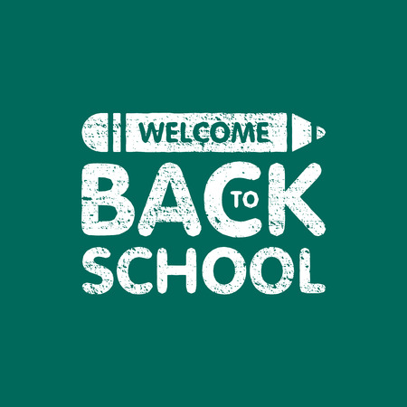 Grunge welcome back to school sign logo with pencil. Education board text. Vector illustration. Illustration