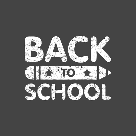 Grunge back to school sign logo with pencil. Education board text. Vector illustration. Illustration