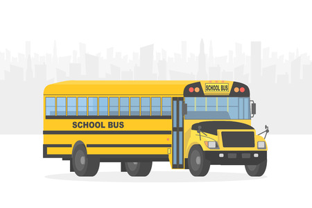 yellow schoolbus: Vector yellow school bus on white city background. Illustration