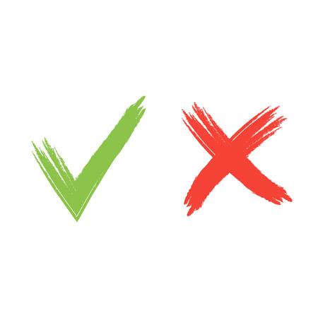 false: Hand drawn red and green grunge check mark vector illustration.