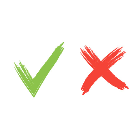 Hand drawn red and green grunge check mark vector illustration.