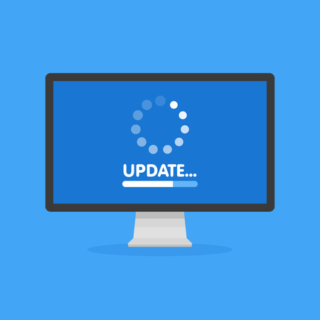System software update and upgrade concept. Loading process in monitor screen. Vector illustration.