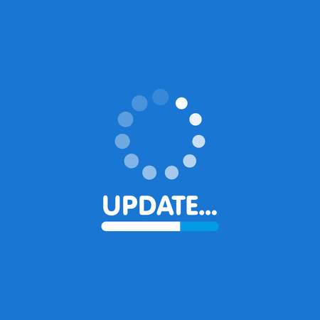 System software update and upgrade concept. Loading process screen. Vector illustration.