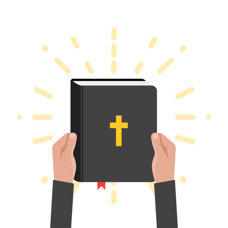 Quotation from the bible, the place empty for text. Holy Book Scripture. Christian vector illustration in retro rays background Illustration
