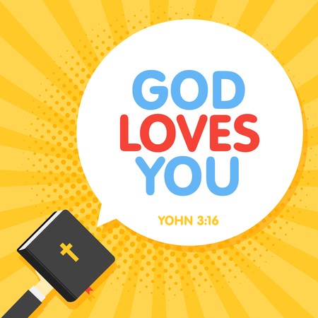 Quotation from the bible, God Loves You text. Holy Book Scripture. Christian vector illustration in retro rays background