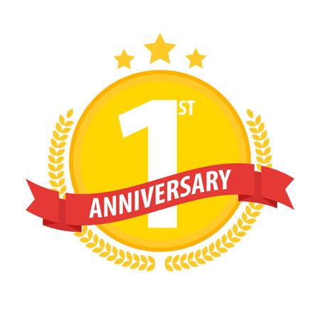 First anniversary circle badge with ribbon and laurel. Flat vector illustration. Illustration
