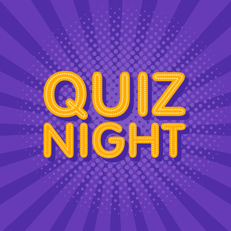 Quiz Night neon light sign in retro twist background with stars. Poster template vector illustration. Ilustrace