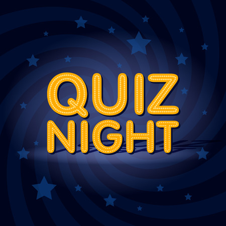Quiz Night neon light sign in retro twist background with stars. Poster template vector illustration. Иллюстрация