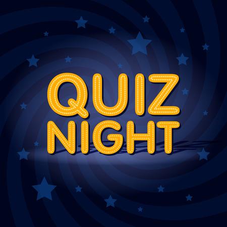 Quiz Night signe de lumière au néon rétro fond de torsion avec des étoiles. Illustration de vecteur modèle affiche.