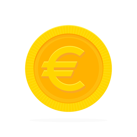 Gold euro coin in flat style. Vector illustration.