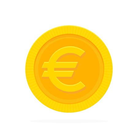 Pièce d'or euro dans un style plat. Illustration vectorielle