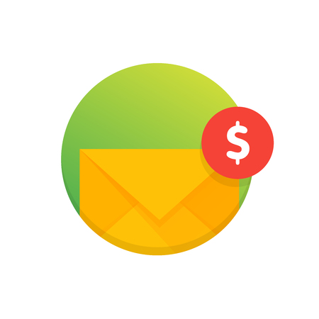 Mail envelope icon with dollar coins. Email send money concept vector illustration.