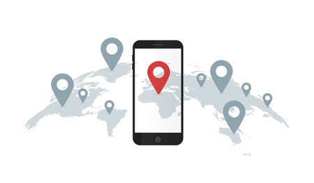 Vector illustration of world map and smartphone with geolocation pins.