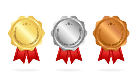 First place. Second place. Third place. Award Medals Set isolated on white with ribbons and stars. Vector illustration.