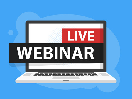 Free webinar play online button vector illustration in Laptop notebook computer screen. Vector illustration. Illustration