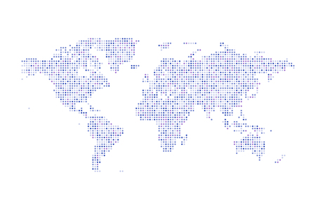 Color dotted Political World Map Vector isolated Illustration Illustration