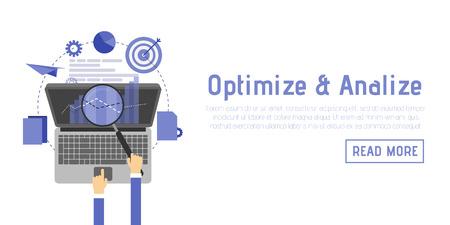 css: SEO optimization, programming process and web analytics elements in flat design.