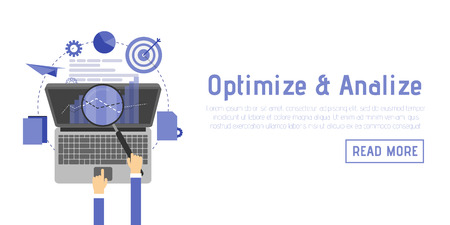 SEO optimization, programming process and web analytics elements in flat design.
