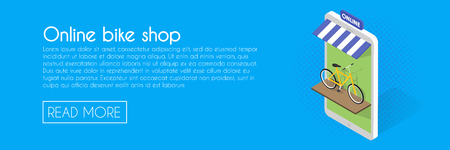 Online bike shop concept. Isometric phone vector illustration. Web banner template. Illustration