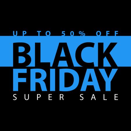 half price: Black friday super sale poster. Clearance mega discount flyer template. Big special offer season. Vector digital shop banner illustration. Illustration