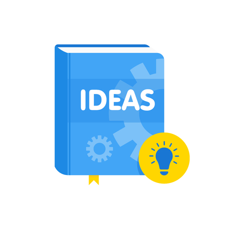 Ideas book with lightbulb flat icon. Online business education vector illustration. Ilustrace