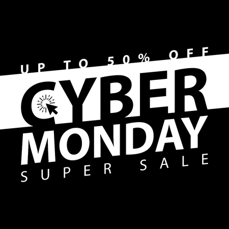 electronic commerce: Cyber monday super sale poster. Clearance mega discount flyer template. Big special offer season. Vector digital shop banner illustration. Illustration