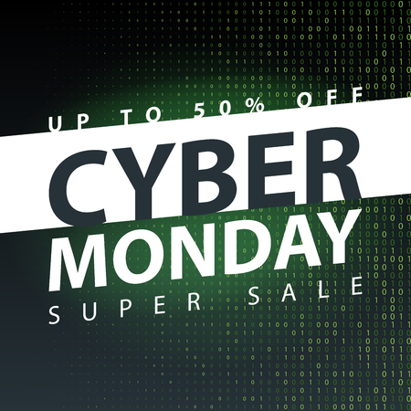 Cyber monday super sale poster. Clearance mega discount flyer template. Big special offer season. Vector digital shop banner illustration. Illustration