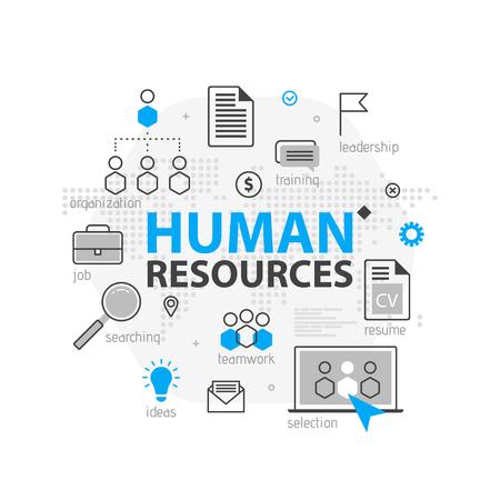 인적 자원 웹 배너 개념입니다. 개요 라인 비즈니스 아이콘을 설정합니다. HR 전략 팀, 팀워크 및 기업 조직. 벡터 일러스트 레이 션 사이트, 프리젠 테