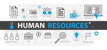 Concepto de banner web de recursos humanos. Conjunto de iconos de negocios de líneas de contorno. Equipo de estrategia de recursos humanos, trabajo en equipo y organización corporativa. Ilustración vectorial Plantilla para sitios, presentación