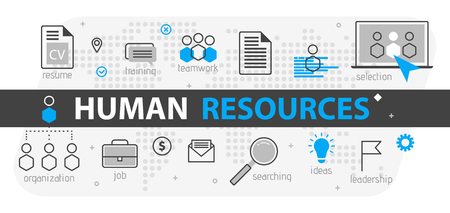 Human resources web banner concept. Outline line business icon set. HR Strategy team, teamwork and corporate organization. Vector illustration Template for sites, presentation