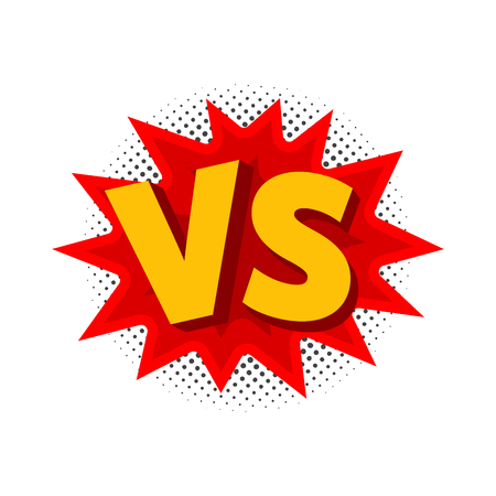 Vector illustration of VS as versus letters in comic style.