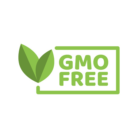 Vector illustration of green colored GMO free emblems.
