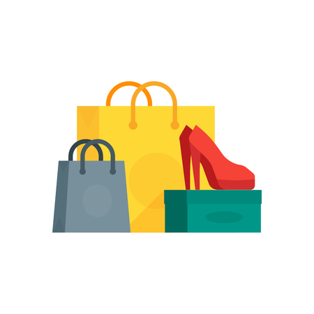 Vector illustration of colorful paper bags with buyings and shoes on box.