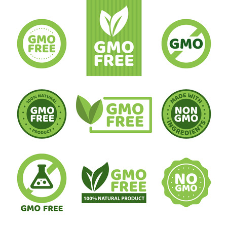 Vector illustration of different green colored GMO free emblems.