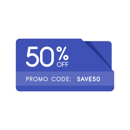 Promo code, coupon code. Flat vector badge design illustration on white background.