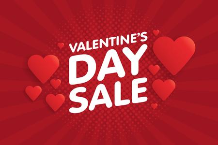 Valentine's Day Sale Banner in Vintage comics retro Background With Hearts. Vector illustration. Foto de archivo - 94101687