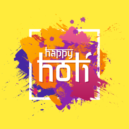 Happy Holi spring festival of colors greeting vector background with colorful powder paint clouds. Blue, yellow, pink and violet. Vector illustration.
