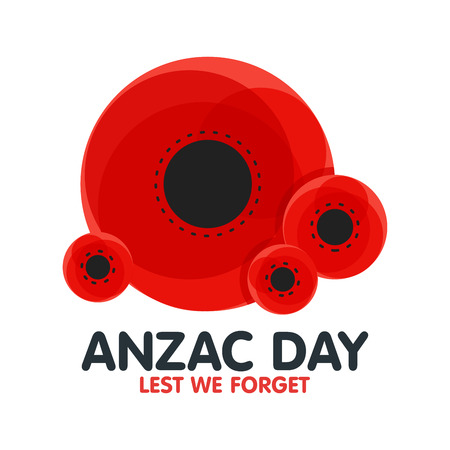 Bright poppy flower. Remembrance day symbol. Anzac Day in Australia Lest we forget . Vector illustration.