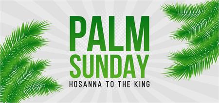 Biglietto di auguri domenica delle palme, poster con bordo foglie di palma realistick, cornice. Sfondo vettoriale