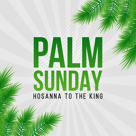Palm Sunday holiday card, poster with realistick palm leaves border, frame. Vector background.