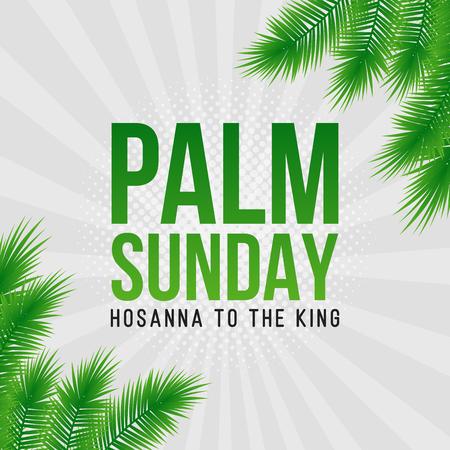 Palmzondag-kerstkaart, poster met realistische palmbladerenrand, lijst. Vector achtergrond Stockfoto - 94107001