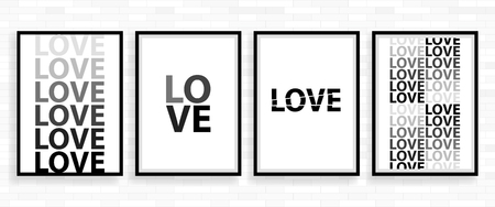 Love Happy Valentines day poster card, Font Type vector illustration.