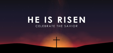 Scène de Pâques chrétienne, le Sauveur traverser sur une scène de lever de soleil spectaculaire, avec texte Il est ressuscité, illustration vectorielle.