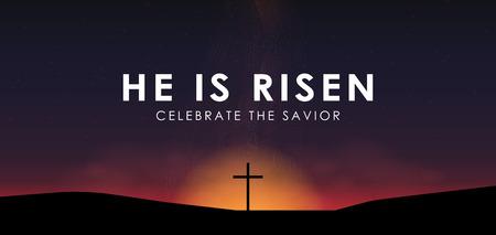 Scena di Christian Easter, incrocio del salvatore sulla scena drammatica di alba, con testo che è aumentato, illustrazione di vettore.