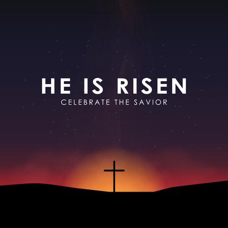Christian Easter scene, Savior cross on dramatic sunrise scene, with text He is risen, vector illustration. Vettoriali