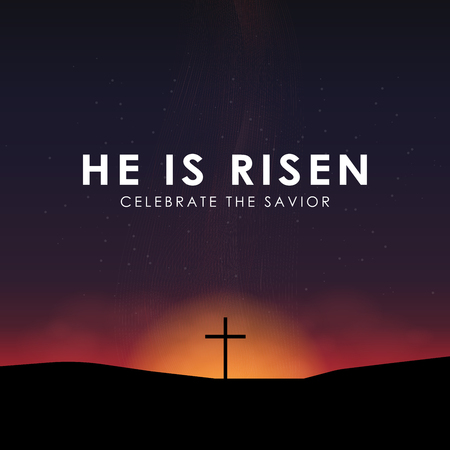 Christian Easter scene, Savior cross on dramatic sunrise scene, with text He is risen, vector illustration. Illustration