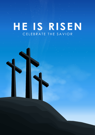 Christian easter scene, Saviour cross on dramatic sunrise scene, with text He is risen celebrate the Savior, vector illustration.