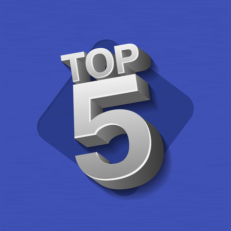 Vector illustration of silver metal colored Top 5 words on blue background.
