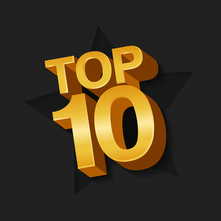 Vector illustration of golden colored Top 10 ten words and star on dark background. Ilustrace