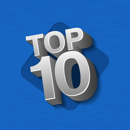 Vektorillustration des silbernen Metalls färbte Top 10 zehn Wörter auf blauem Hintergrund. Vektorgrafik